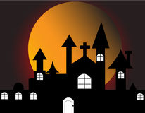 Haunted house. Halloween with haunted house on full moon Stock Image