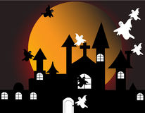 Haunted house. Halloween with haunted house on full moon Stock Photo