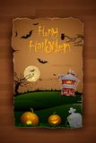 Haunted House in Halloween Night. Illustration of abandoned haunted house in halloween night Royalty Free Stock Photo