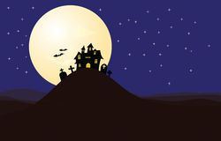 Haunted House Halloween Night. Scary landscape scene on Halloween night silhouette of  Haunted House Royalty Free Stock Photo