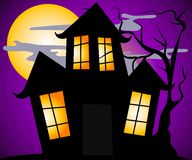 Haunted House Halloween Scene royalty free illustration