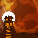 Haunted house for Happy Halloween Party. Creative illustration of a haunted house with jack o lantern on stylish background for Halloween Party celebration Stock Photos