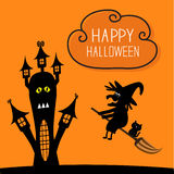 Haunted house Happy Halloween witch and black cat Stock Image