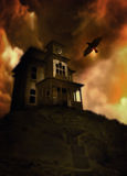 Haunted house on a hill stock illustration