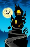 Haunted house on hill with Moon. Color illustration Stock Photos