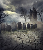 Haunted House. Hounted house on spooky graveyard stock photography