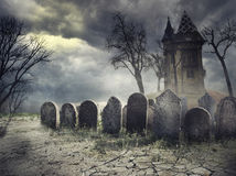 Haunted House. Hounted house on spooky graveyard royalty free stock photos