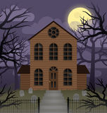 Haunted House. Illustration depicting a scene of a spooky house on a foggy moonlit night Stock Images
