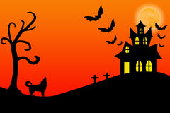 Haunted House. Illustration of a halloween haunted house Stock Photo