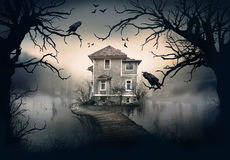 Haunted House on the Lake. With Dark Horrow Atmosphere. Haunted Lake Scene House royalty free stock photos