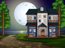 Haunted house by the lake at night. Illustration Stock Photo