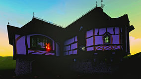 Haunted house with lightning at night 3d rendering Royalty Free Stock Photo