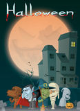 Haunted house and monsters at Halloween. Illustration of Haunted house and monsters at Halloween Stock Photos