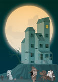 Haunted house and monsters. Illustration of Haunted house and monsters Royalty Free Stock Images