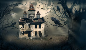Haunted House with Moon Behind and Horror Look royalty free illustration