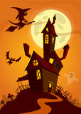 Haunted house on night background with a full moon behind. Vector Halloween background Royalty Free Stock Images