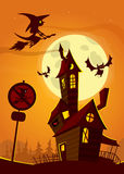 Haunted house on night background with a full moon behind - Vector Halloween illustration Stock Photo