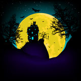 Haunted House at night with moon. EPS 8. Vector Haunted House on a Graveyard hill at night with full moon. EPS 8 vector file included Stock Photo