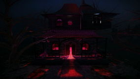Haunted house at night video. Scary Haunted House aerial view