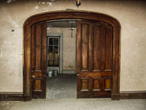 Haunted House. Photos of large sliding door taken by me at a supposed haunted house stock images