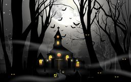 Haunted house with pumpkin in foggy forest in full moon Royalty Free Stock Images
