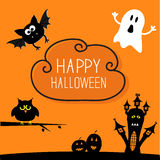 Haunted house, pumpkins, owl, bat, ghost. Cloud in Stock Images