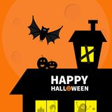 Haunted house roof attic loft. Light on boarded-up windows. Cat arch back. Flying bat. Monster spider Pumpkin Candle. Happy Hallow Stock Photography