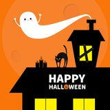 Haunted house roof attic loft. Light on boarded-up windows. Cat arch back. Flying ghost. Pumpkin Candles. Happy Halloween. Big moo Royalty Free Stock Images
