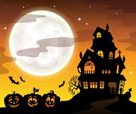 Haunted house silhouette theme image 5 Stock Image