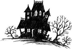 Haunted House Sketch Royalty Free Stock Images