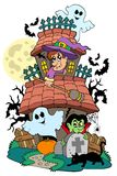 Haunted house with various characters Stock Image