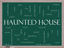 Haunted House Word Cloud Concept on a Blackboard Royalty Free Stock Photography