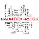 Haunted House Word Cloud Concept in red & black Royalty Free Stock Photography