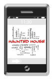 Haunted House Word Cloud Concept on Touchscreen Phone. Haunted Hosue Word Cloud Concept of Touchscreen Phone with great terms such as spooky, black cat, vampire stock illustration