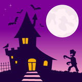 Haunted House with Zombie. Halloween night scene background with the moon over a haunted house with a zombie walking and bats flying. Eps file available Stock Photo