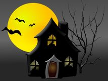 Haunted House2. House,moon,bats and spooky tree for Halloween Stock Photo