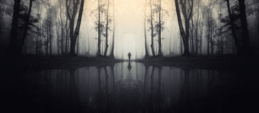 Haunted lake in forest with man silhouette