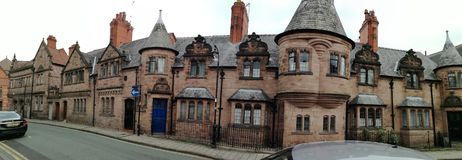 Medieval pretty houses in medieval Chester town. Haunted and magic houses in Grosvenor park road in English medieval Chester stock photos