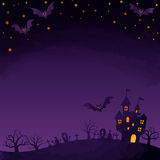 Haunted mansion and bats. Halloween background image by watercolor paint touch royalty free illustration