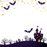 Haunted mansion and bats. Halloween background image by watercolor paint touch stock illustration