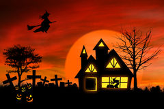 Haunted mansion with Jack O Lantern Royalty Free Stock Photo