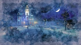 Haunted mansion at mystic night watercolor sketch vector illustration
