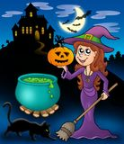 Haunted mansion with wizard girl. Color illustration Stock Image