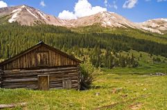 Haunted Miner's Log Cabin - 1. An abandoned mining cabin at Independence, Colorado. Some say it is haunted by the ghost of a miner who died in the cabin while royalty free stock photography