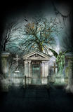 Haunted New Orleans Cemetery. Haunted New Orleans Collection poster of ghost in a cemetery Stock Photo
