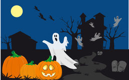 Halloween haunted night. Jack o lantern with flying ghosts in a scary scene royalty free illustration