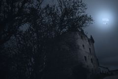 Haunted old mansion. Old haunted manor house on full moon night royalty free stock photography