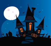 Haunted scary house. Old scary mansion. Vector Illustration Stock Photo