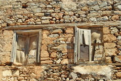 Haunted Spinalonga windows. That remains in time Stock Photos