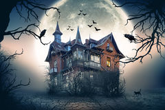 Haunted Spooky House. Haunted House with Dark Horror Atmosphere. Haunted Scene House